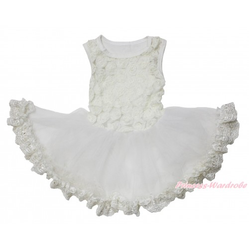 Valentine's Day Cream White Romantic Rose Sleeveless Gauze Skirt & Lace Pet Dress DC217