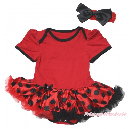 Beetle Red Baby Bodysuit Red Black Dots Pettiskirt JS4764