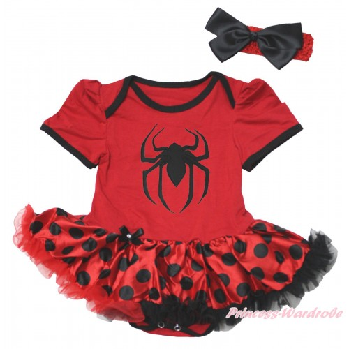 Halloween Red Baby Bodysuit Red Black Dots Pettiskirt & Spider Print JS4765