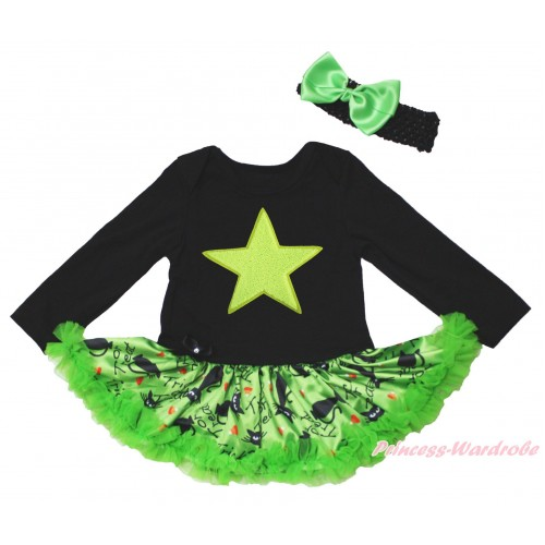 Black Long Sleeve Bodysuit Green Black Cat Pettiskirt & Super Star Print JS4823