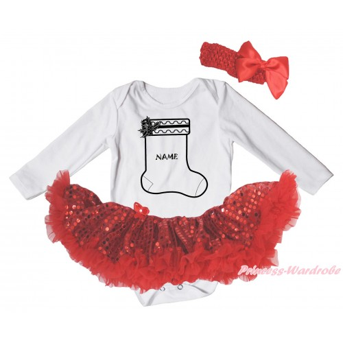 Christmas White Long Sleeve Bodysuit Bling Red Sequins Pettiskirt & Personalize Name Christmas Stocking Print JS4832