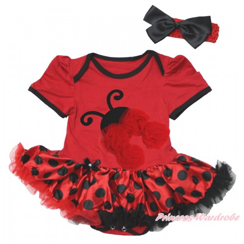 Red Baby Bodysuit Red Black Dots Pettiskirt & Red Rosettes Beetle Print JS4838