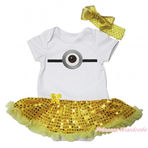 White Baby Bodysuit Bling Yellow Sequins Pettiskirt & Minion Print JS4841
