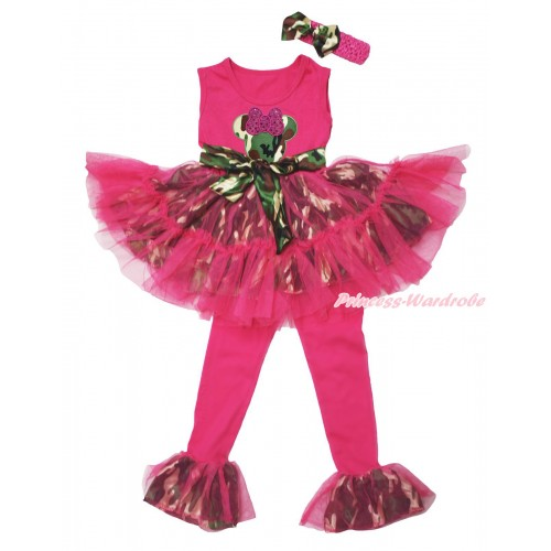 Hot Pink Camouflage Tutu Ruffles Tank Top & Sparkle Hot Pink Camouflage Minnie Print & Pant Set & Hot Pink Headband Camouflage Satin Bow P056