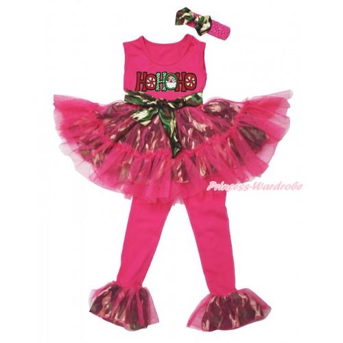 Christmas Hot Pink Camouflage Tutu Ruffles Tank Top & HOHOHO Santa Claus Print & Pant Set & Hot Pink Headband Camouflage Satin Bow P060