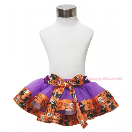 Halloween Dark Purple Witch Pumpkin Ghost Trimmed Full Pettiskirt & Bow P226