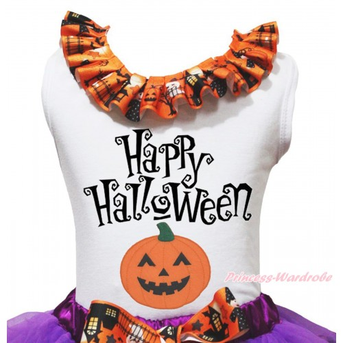 Halloween White Tank Top Witch Pumpkin Ghost Lacing & Happy Halloween Pumpkin Print TB1317