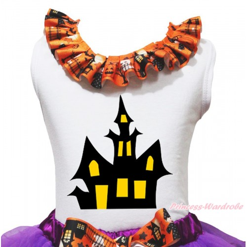 Halloween White Tank Top Witch Pumpkin Ghost Lacing & Haunted House Print TB1318