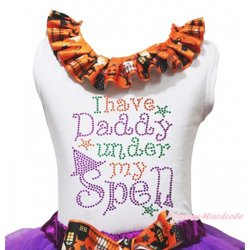 Halloween White Tank Top Witch Pumpkin Ghost Lacing & Sparkle Rhinestone I Have Daddy Under My Spell Print TB1320
