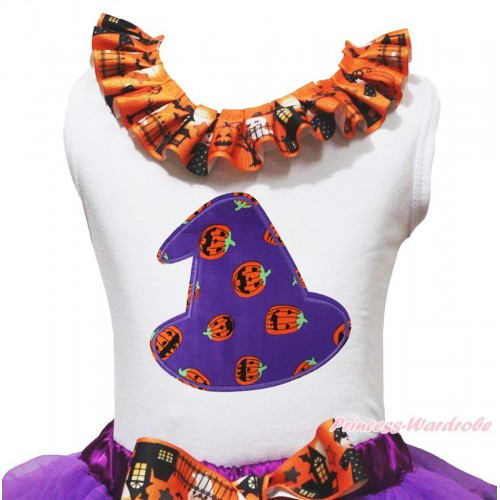 Halloween White Tank Top Witch Pumpkin Ghost Lacing & Purple Pumpkin Hat Print TB1321