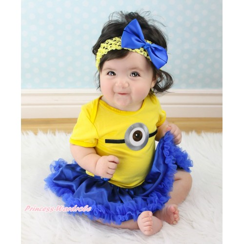 Yellow Baby Bodysuit Royal Blue Satin Pettiskirt & Minion Print JS4669