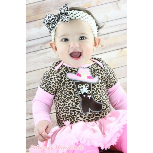 Max Style Long Sleeve Leopard Baby Bodysuit Light Pink Satin Pettiskirt & Cowgirl Hat Boot Print JS4857
