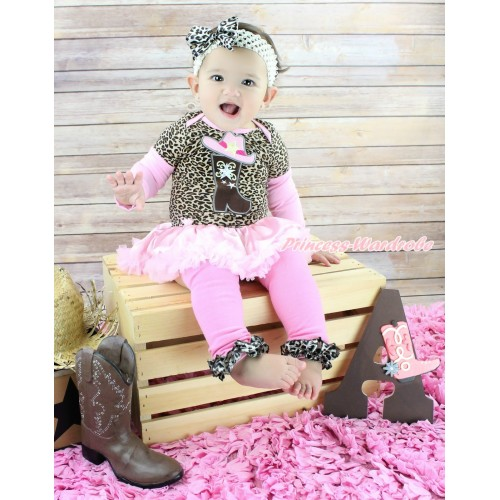Max Style Long Sleeve Leopard Bodysuit Light Pink Satin Pettiskirt & Cowgirl Hat Boot Print & Headband & Warmers Leggings JS4874