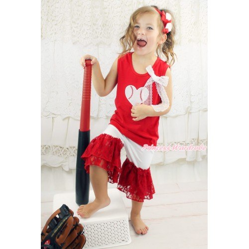 Red Tank Top White Lace Bow & Baseball Heart Print & White Cotton Short Pantie & Red Lace Ruffles P063