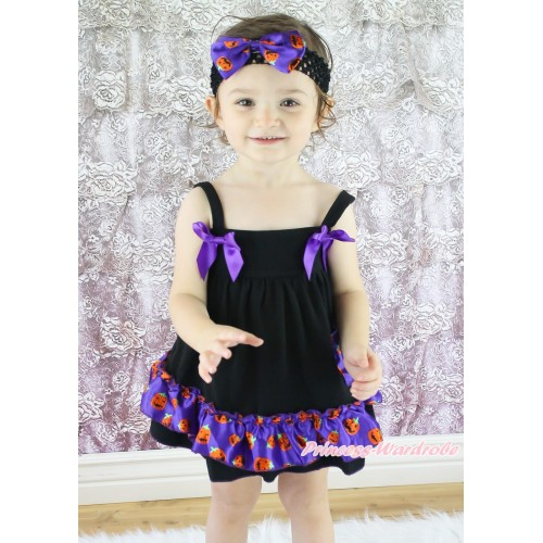 Halloween Black Purple Pumpkin Swing Top Dark Purple Bow matching Panties Bloomers SP31