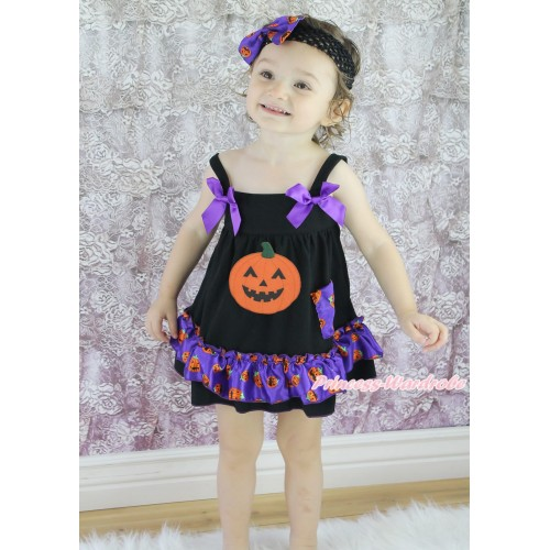 Halloween Black Purple Pumpkin Swing Top Dark Purple Bow & Pumpkin Print matching Panties Bloomers SP32