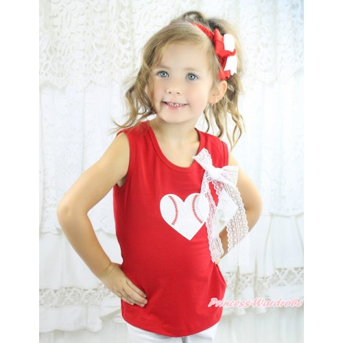 Red Tank Top White Lace Bow & Baseball Heart Print TB1362