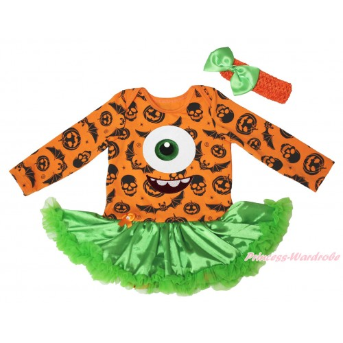 Halloween Pumpkin Bat Skeleton Long Sleeve Bodysuit Green Satin Pettiskirt & Big Eye Monster Print JS4792
