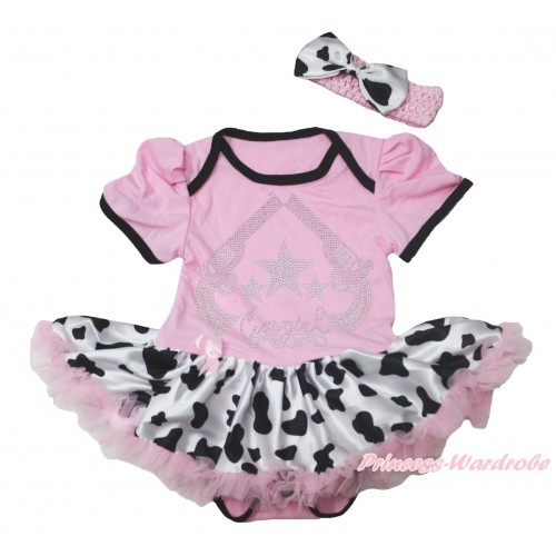 Light Pink Baby Bodysuit Milk Cow Pettiskirt & Sparkle Rhinestone Cowgirl Print JS4797