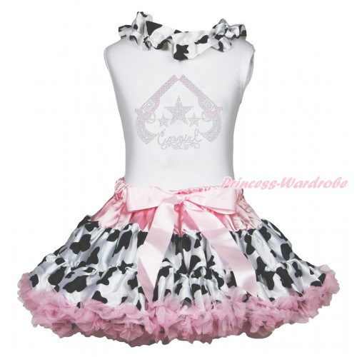 White Tank Top Milk Cow Lacing & Rhinestone Cowgirl Print & Milk Cow Light Pink Pettiskirt MG1885