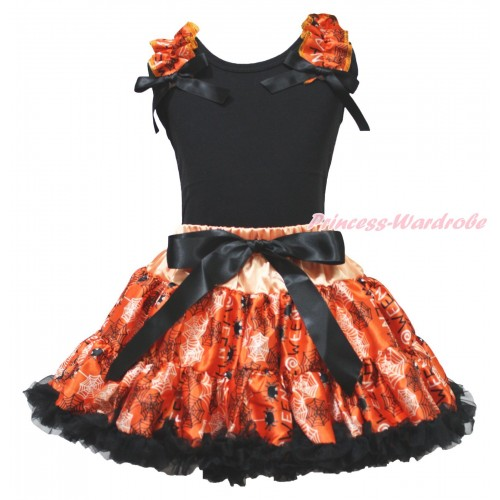 Halloween Black Tank Top Spider Web Ruffles Black Bow & Orange Black Spider Web Pettiskirt MG1886