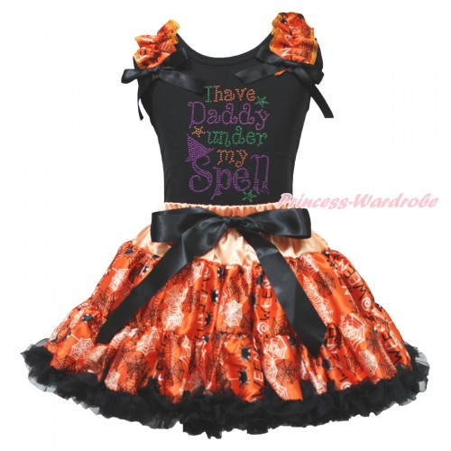 Halloween Black Tank Top Spider Web Ruffles Black Bows & Rhinestone I Have Daddy Under My Spell & Orange Black Spider Web Pettiskirt MG1888