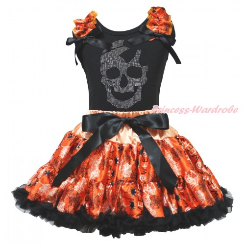 Halloween Black Tank Top Spider Web Ruffles Black Bows & Rhinestone Skeleton & Orange Black Spider Web Pettiskirt MG1889