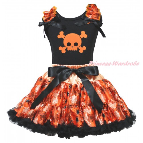Halloween Black Tank Top Spider Web Ruffles Black Bows & Orange Skeleton Print & Orange Black Spider Web Pettiskirt MG1890