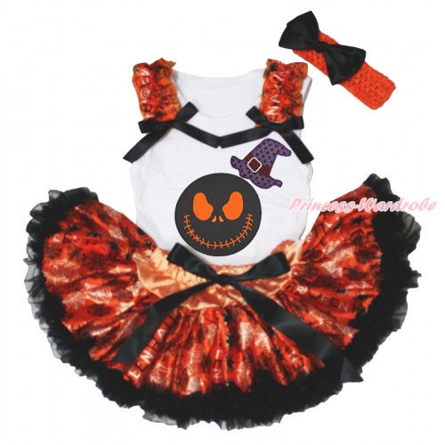 Halloween White Baby Pettitop Spider Web Ruffles Black Bows & Sparkle Hat Nightmare Before Christmas Jack Print & Orange Black Spider Web Newborn Pettiskirt NG1861