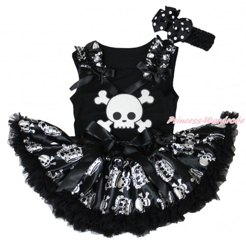 Halloween Black Baby Pettitop Crown Skeleton Ruffles Black Bows & White Skeleton Print & Black Crown Skeleton Newborn Pettiskirt NG1864