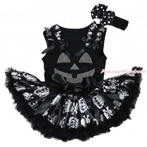 Halloween Black Baby Pettitop Crown Skeleton Ruffles Black Bows & Rhinestone Pumpkin Face Print & Black Crown Skeleton Newborn Pettiskirt NG1865