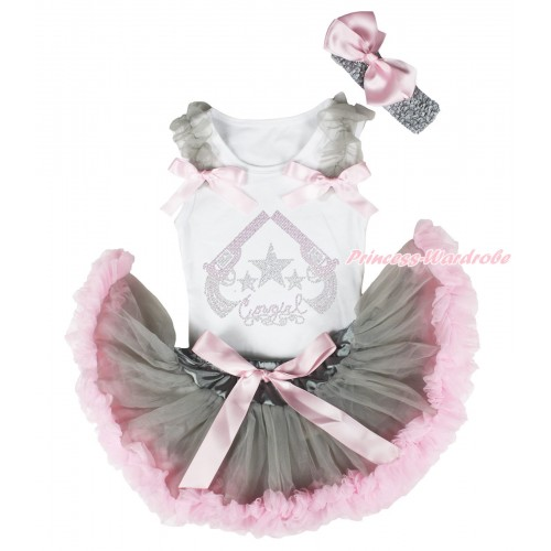 White Baby Pettitop Grey Ruffles Light Pink Bows & Rhinestone Cowgirl Print & Grey Light Pink Newborn Pettiskirt NG1866