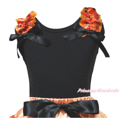 Halloween Black Tank Top Spider Web Ruffles Black Bow TB1339