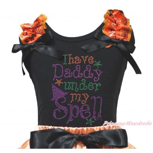 Halloween Black Tank Top Spider Web Ruffles Black Bow & Sparkle Rhinestone I Have Daddy Under My Spell Print TB1341