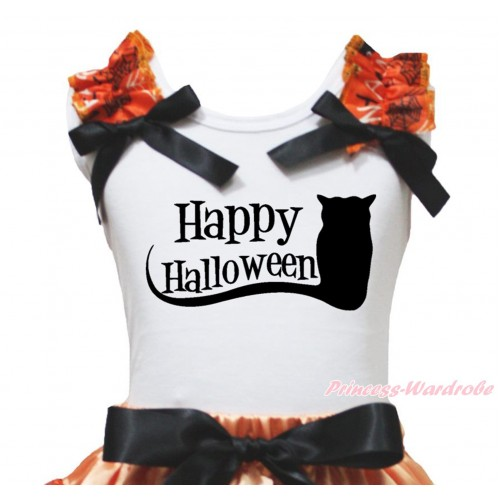 Halloween White Tank Top Spider Web Ruffles Black Bow & Happy Halloween Owl Print TB1344