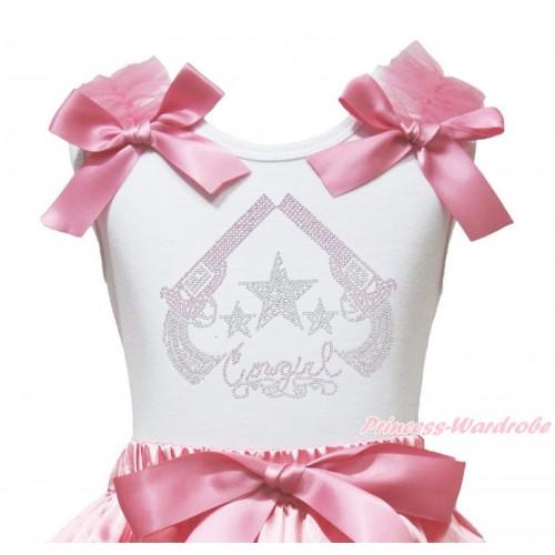 White Tank Top Dusty Pink Ruffles & Bow & Sparkle Rhinestone Cowgirl Print TB1345