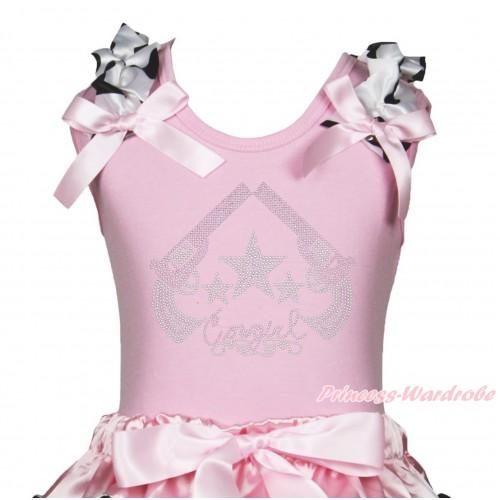 Light Pink Tank Top Milk Cow Ruffles Light Pink Bow & Sparkle Rhinestone Cowgirl Print TB1346