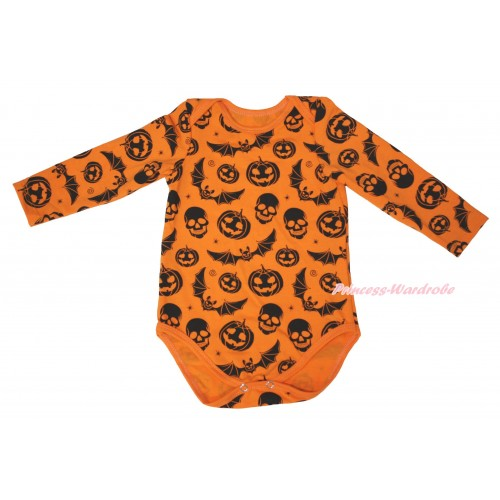 Halloween Plain Style Pumpkin Bat Skeleton  Baby Jumpsuit TH627