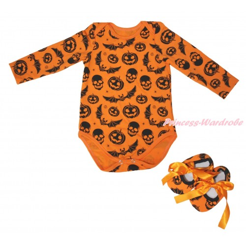 Halloween Plain Style Pumpkin Bat Skeleton  Baby Jumpsuit & Shoes TH628