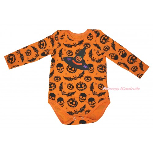 Halloween Pumpkin Bat Skeleton Baby Jumpsuit & Pumpkni Witch Hat Print TH631