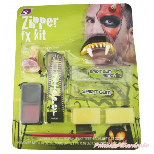 Halloween Vampire Zombie Zipper Makeup Toy Kit Party Costume TY021