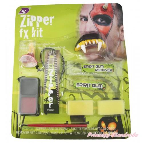 Halloween Vampire Zombie Zipper Makeup Toy Kit Party Costume TY021