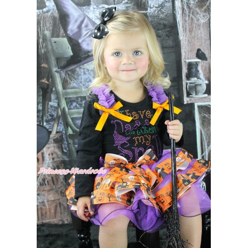 Halloween Black Baby Pettitop Dark Purple Ruffles Orange Bows & Rhinestone I Have Daddy Under My Spell Print & Dark Purple Witch Pumpkin Ghost Trimmed Newborn Pettiskirt NG1868