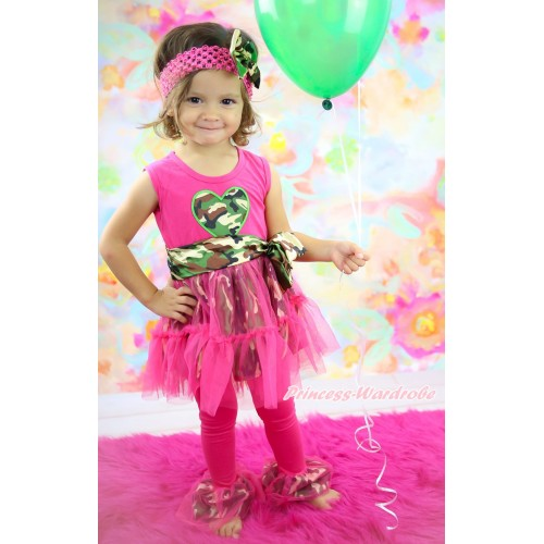 Hot Pink Camouflage Tutu Ruffles Tank Top & Camouflage Heart Print & Pant Set & Hot Pink Headband Camouflage Satin Bow P057