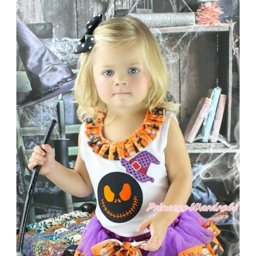 Halloween White Tank Top Witch Pumpkin Ghost Lacing & Sparkle Hat Nightmare Before Christmas Jack Print TB1316