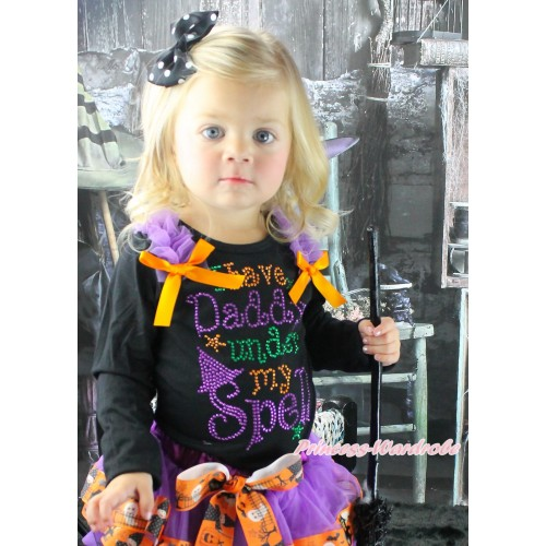 Halloween Black Top Dark Purple Ruffles Orange Bow & Sparkle Rhinestone I Have Daddy Under My Spell Print TB1349