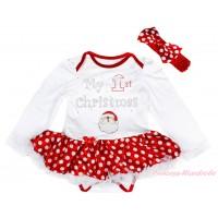 Christmas White Long Sleeve Bodysuit Minnie Dots White Pettiskirt & Sparkle Rhinestone My 1st Christmas Santa Claus Print JS4863