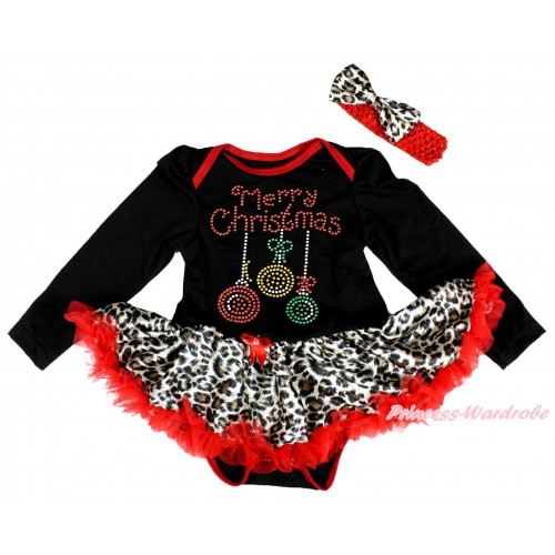 Christmas Black Long Sleeve Bodysuit Leopard Red Pettiskirt & Sparkle Rhinestone Christmas Lights Print JS4875