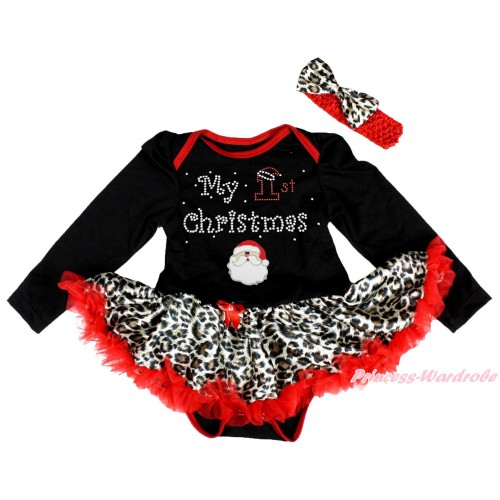 Christmas Black Long Sleeve Bodysuit Leopard Red Pettiskirt & Sparkle Rhinestone My 1st Christmas Santa Claus Print JS4876