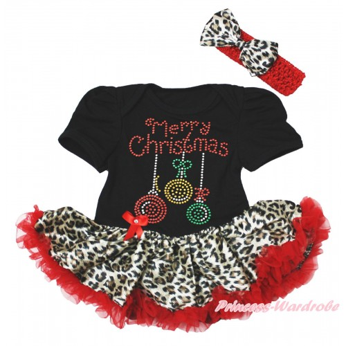 Christmas Black Baby Bodysuit Leopard Red Pettiskirt & Sparkle Rhinestone Christmas Lights Print JS4885